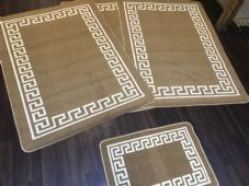 ROMANY GYPSY WASHABLE MATS FULL SET OF 4 XLARGE 100X140CM GREEK BEIGE CARPETS